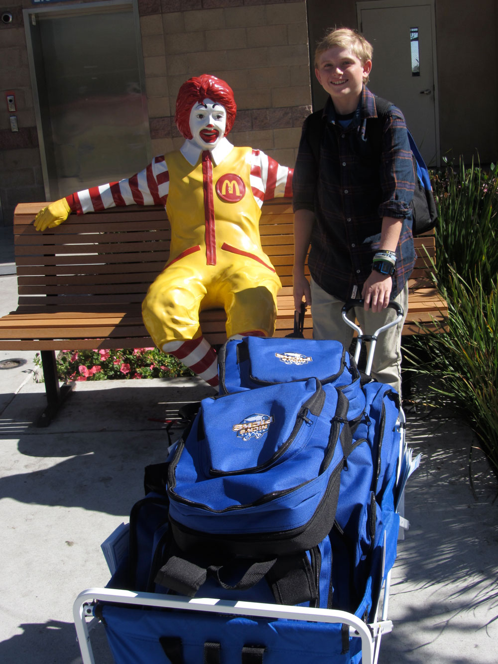 Nick taking a break with Ronald McDonald (Ronald McDonald House San Diego)