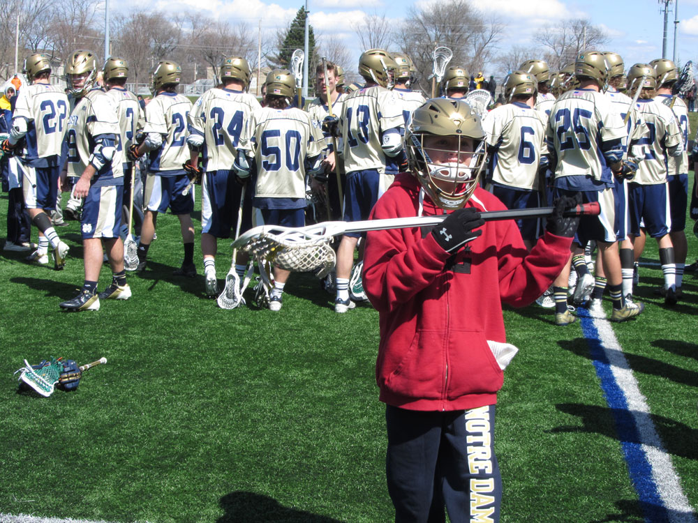 Nick with Notre Dame Lacrosse team